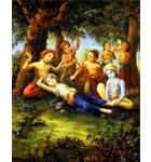 Krishna Massages Balaram's Feet in the Forrest