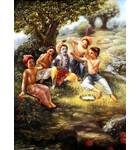 Krishna, Balaram and the Cowherd Boys Play in the Forrest