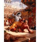 Krishna Fighting with King Kamsa in the Arena