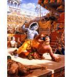 Krishna Fighting with King Kamsa in the Arena