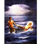 Lord Caitanya Caught in Fisherman's Net