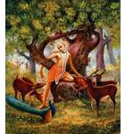 Lord Caitanya Mahaprabhu in Forrest with Deer