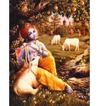 Krishna Plays His Flute Under a Mango Tree in Vrindavan