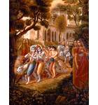 Krishna and Balaram Leave Vrindavan for the Forest with Their Friends and Cows