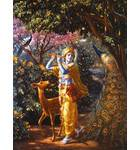 Krishna With Deer and Peacock in Vrindavan