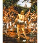 Lord Caitanya Dances with the Body of Haridas Thakur