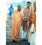 Srila Prabhupada on Morning Walk Juhu Beach Bombay