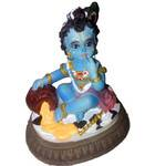 "Krishna The Butter Thief (Makhan Chor) Polyresin Deity (3.5"" high)"