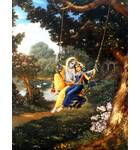 Radha and Krishna on Swing in Forest Painting (Blue Sari)
