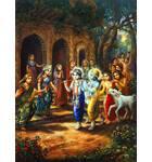 Krishna and Balarama Entering Village Painting