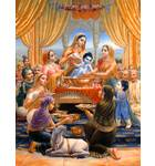 Krishna as baby, bathing