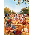 Krishna Takes Lunch with Gopas Print