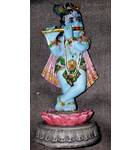 "Lotus Krishna Standing on Lotus Flower Polyresin Figure (5"")"
