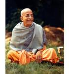 Srila Prabhupada at Bhaktivedanta Manor, London. Backyard, Smile