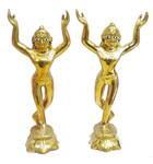 """Gaura Nitai Deities Lotus Base (7"""" brass)"""