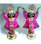 "Gaura Nitai Deities 20"" Both Hands Up; Round Base"