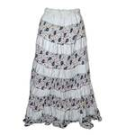 Gopi Skirt -- Jaipuri Panels, White w/ Multicolored Patterns