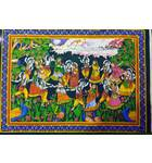 "Wall Hanging -- Krishna's Rasa-Lila Dance with Radharani and Gopis (30""x40"")"