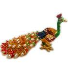 """Colorful Peacock with Pearls (6"""" length)"""