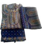 Punjabi Suit -- Synthetic or Chiffon -- 3-piece (Top, Pants, Chadar)