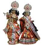"Radha Krishna Deties (Brass 18"", Round Base)"