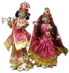 "Radha Krishna Deities (Brass 16"", Lotus Base)"