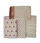 Radharani Sari -- Fine Cotton-Jute, Printed Pattern on Cream Background