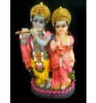 "Radha and Krishna with Peacock Polyresin Figure (5"" high)"