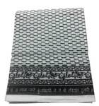 White Cotton Chadar with Black Print (2.25 m)