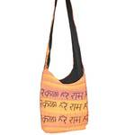 Handbag with Hare Krishna Mantra in Earthy Colors
