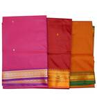 Sari, Synthetic  -- South Indian (Plain Bright Colors with Golden Border)