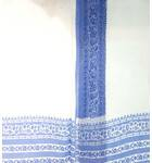 Sari, Fine Cotton -- White with Printed Blue Border