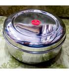 "Prasadam Lunchbox Round Stainless Steel 3"" high 5"" across"